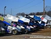 Cars ready to push off at Attica Raceway Park. (Bob Buffenbarger Photo)
