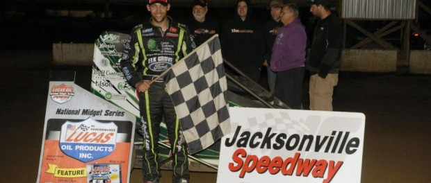 Bryan Clauson in victory lane following his POWRi midget car series victory Friday night at Jacksonville Speedway. (Mark Funderburk Photo)