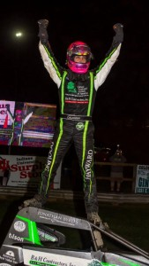 Bryan Clauson celebrates in victory lane Friday night after winning his fourth consecutive USAC AMSOIL National Sprint Car feature at Bloomington (Ind.) Speedway. (Ryan Sellers Photo)