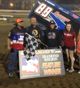 Tim Crawley in victory lane at Riverside International Speedway. (Image courtesy of the NSL)