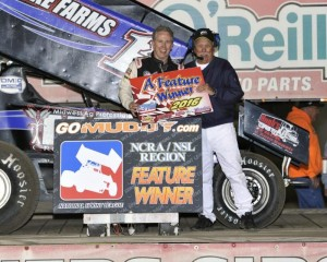 Don Droud, Jr. in victory lane following his feature win at 81 Speedway. (Image courtesy of the NSL)