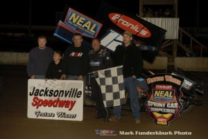 Jerrod Hull in victory lane following his victory with the Neil Tire MIdwest Open Wheel Association at Jacksonville Speedway. (Mark Funderburk Photo)