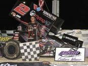 Parker Price-Miller following his victory at LaSalle Speedway. (Mark Funderburk Photo)