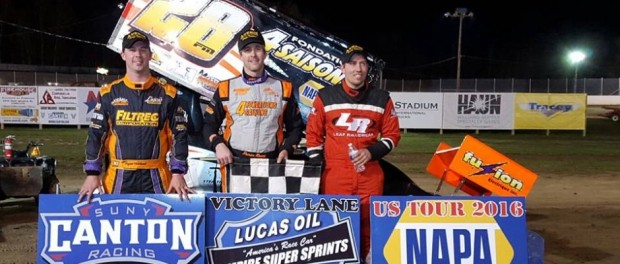 (l to r) Third place Bryan Howland, winner Steve Poirier, second place Danny Varin. (ESS Photo)