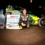 """Chase Stockon in victory lane after winning Saturday night's """"Spring Showdown"""" USAC AMSOIL National Sprint Car event at Tri-State Speedway in Haubstadt, Indiana. (Parker Stockon Photo)"""