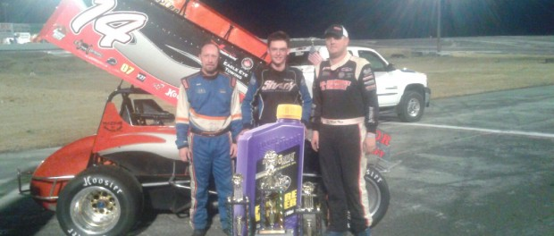 (l to r) Second place Andy Alberding, winner Robbie Price, and Matt Hein following the NSRA feature at Ephrata Raceway Park. (Pat Tully Photo)