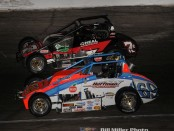 Tanner Swanson (#69) passing Caleb Armstrong (#69) during the Pay Less Little 500. (Bill Miller Photo)