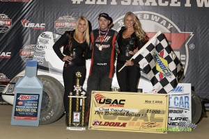 Chad Boespflug in victory lane at Eldora Speedway. (Mike Campbell Photo)