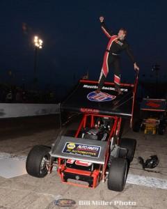 Chris Neuenschwander after winning the sprint car feature event at the Anderson Speedway on Wednesday Night. (Bill Miller Photo)