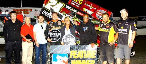 Terry McCarl in victory lane following his victory with the National Sprint League during the Dirt Classic at I-80 Speedway. (Brad Brown/IBRACN Photo)
