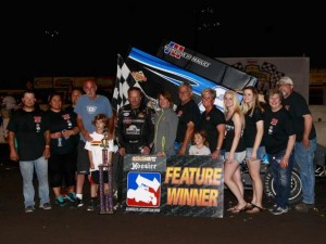Craig Dollansky in victory lane following his victory on Sunday at the Iowa State Fairgrounds.  (Image courtesy of the NSL)