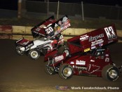 Greg Wilson (#20) racing with Aaron Anderskevitch (#83) Friday night at Jacksonville Speedway. (Mark Funderburk Photo)