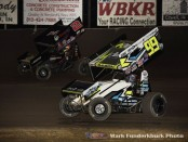 Brady Bacon (#99) racing with Parker Price-Miller (#2) Saturday night with the World of Outlaws Craftsman Sprint Car Series at Tri-State Speedway. (Mark Funderburk Photo)