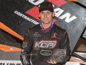 Ian Madsen won the Sprint Invaders main event at the Iowa State Fair Speedway in Des Moines (Dave Hill Photo)