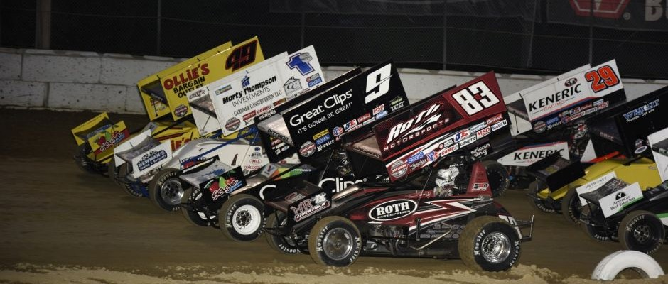 World of Outlaws Craftsman Sprint Car Series parade lap during the first visit for the series to Plymouth Speedway. (Mark Funderburk Photo)