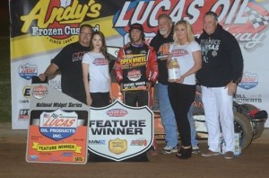 Tanner Thorson in victory lane following his POWRi National Midget Car Series feature victory at Lucas Oil Speedway. (Image courtesy of POWRi)