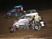 #1K Kyle Larson, #7K Justin Peck and #71 Ryan Robinson during heat race action. (Bill Miller Photo)