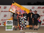 Jac Haudenschild and crew in Victory Lane at the Eldora Speedway. (Bill Miller Photo)