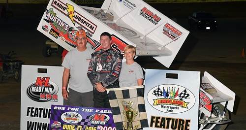 JR Stewart won the 'Run For the Rabbit' Travis Miller Memorial NRA Sprint feature at Limaland. (Mike Campbell Photo)