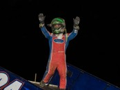 """Rico Abreu going """"up top"""" in Wayne County Speedway victory lane.  (Vince Vellella Photo)"""