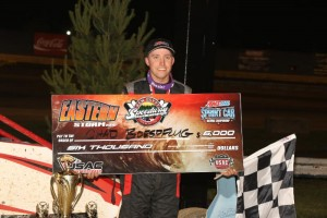 Chad Boespflug in victory lane at New Egypt Speedway. (Michael Fry Photo)