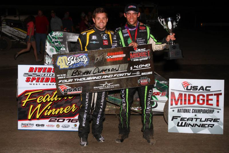 Bryan Clauson in victory lane with Rickie Stenhouse Jr. following his victory at Riverside International Speedway. (Rich Forman Photo)