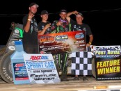 Bryan Clauson with family and crew following his victory on Saturday night at Port Royal Speedway. (Image courtesy of Rich Forman)
