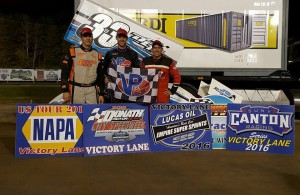 (l to r) Third place Steve Poirier, winner Mike Mahaney, and second place Danny Varin following the opening night of Central New York Speedweek at Brewrton Speedway. (ESS Photo)