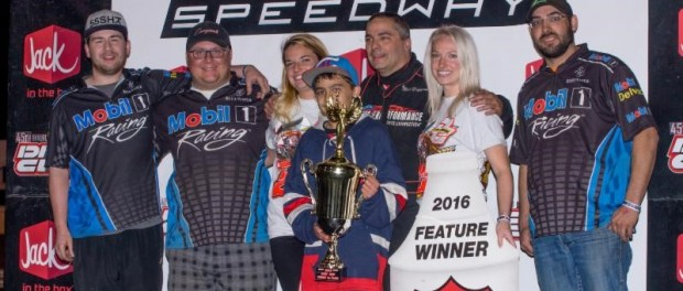 Mark Duperon and team following his victory during the opening night of the 2016 Dirt Cup at Skagit Speedway. (Lisa Dynes Photo)