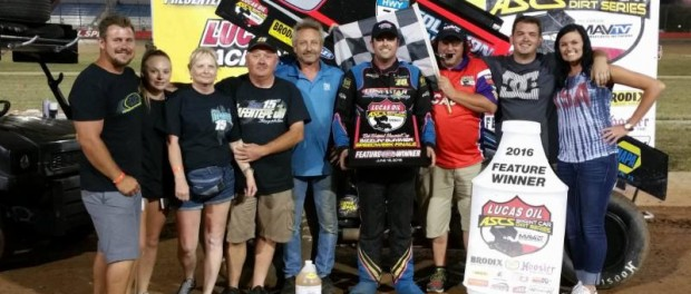 Sam Hafertepe Jr. in victory lane at Lucas Oil Speedway. (Terry Ford Photo)