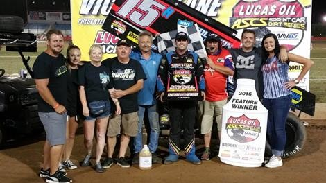 Sam and the team in Victory Lane in Wheatland (Terry Ford for ASCS Photo)