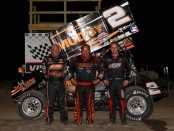 (l to r) Second place Sammy Swindell, winner Danny Lasoski, and third place Ian Madsen following the National Sprint League event at Brown County Speedway. (Image courtesy of Inside Line Promotions)