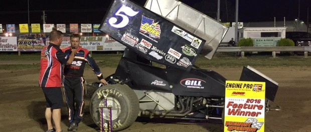 Byron Reed in victory lane at Fremont Speedway. (Todd Smith Photo)