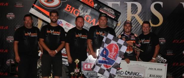 David Gravel and crew in Victory Lane at the Eldora Speedway. (Bill Miller Photo)