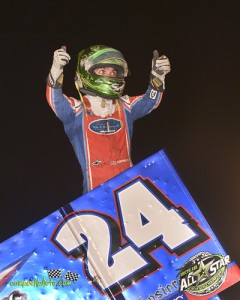 Rico Abreu following his victory Saturday at Kokomo Speedway in the Dirt Classic. (Mike Campbell Photo)