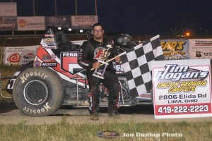 Matt Westfall in victory lane after winning Saturday night at Waynesfield Raceway Park. (Jan Dunlap Photo)