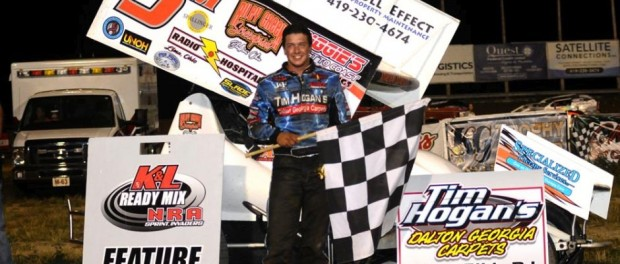 Max Stambaugh in victory lane after his K&L Ready Mix National Racing Alliance series win Saturday night at Wayensfield Raceway Park. (Jan Dunlap Photo)