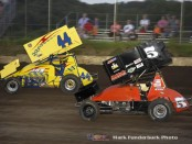 A.J. Bruns (#44) racing with Chris Windom (#5) Wednesday night during IL Sprint Week for the Neal Tire Midwest Open Wheel Association presented by Casey's General Stores at Peoria Speedway. (Mark Funderburk Photo)
