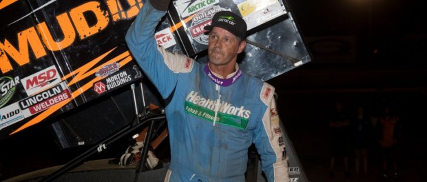 Dale Blaney waves to the crowd from Eriez Speedway victory lane on Friday, July 29. (Vince Vellella Photo)