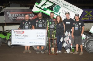 Bryan Clauson with his team in victory lane following his ASCS feature victory Sunday at Badlands Motor Speedway. (ASCS / Rob Kocak Photo)