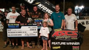 Jonathan Cornell with his family and crew in victory lane at Double-X Speedway. (ASCS / Terry Ford Photo)