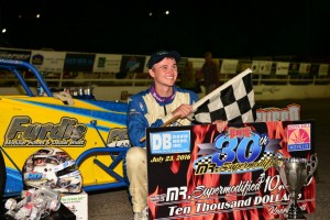 Dave Danzer following his victory Saturday night at Oswego Speedway. (Image courtesy of Oswego Speedway)
