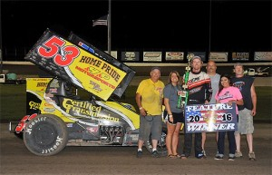 Jack Dover with his team in victory lane at Dodge City Raceway Park. (Lonnie Wheatley Photo)