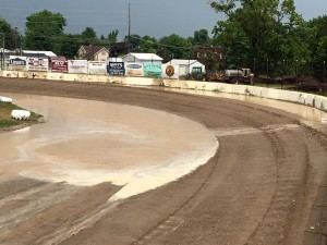 Turn one and Fremont Speedway after three inches of rain. (Image courtesy of Fremont Speedway)