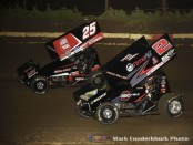 Jake Blackhurst (#25) racing with Parker Price-Miller (#2) Friday night at Jacksonville Speedway. (Mark Funderburk Photo)