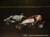 Mario Clouser (#6) racing with James Lyerla Friday night at Jacksonville Speedway with the Wingless Racing Association. (Mark Funderburk Photo)
