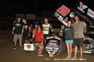 Parker Price-Miller with his team in victory lane following his victory Friday night during MOWA IL Sprint Week at Jacksonville Speedway. (Mark Funderburk Photo)