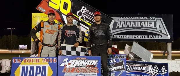 (l to r)Third place Steve Poirier, winner Matt Tanner, and second place Jason Barney following the Central New York Speedweek event at Canandaigua Motorsports Park. (Image courtesy of ESS)