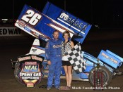 Willie Croft won the Neal Tire Midwest Open Wheel Association feature Friday night at Lincoln Speedway. (Mark Funderburk Photo)