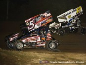 Jeremy Schultz (#5) racing with Bill Balog (#17) Saturday at Wilmot Raceway. (Mark Funderburk Photo)